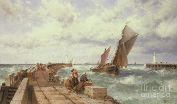 People Watching Painting - The Fishermen Return by Theodore Weber