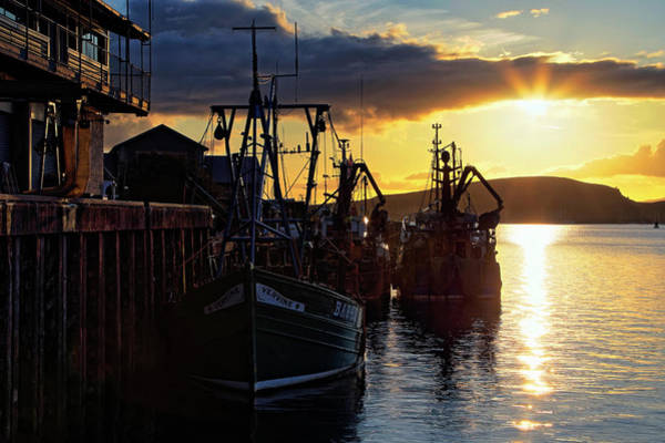 Photograph - The Fishing Boats Of Oban - Scotland - Sunset by Jason Politte