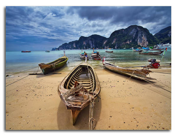 Work Boat Photograph - The Fishing Boats Of Phi Phi II by Feel Free To Share Your Thoughts On My Works