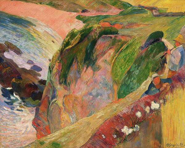 Wall Art - Painting - The Flageolet Player On The Cliff - Digital Remastered Edition by Paul Gauguin