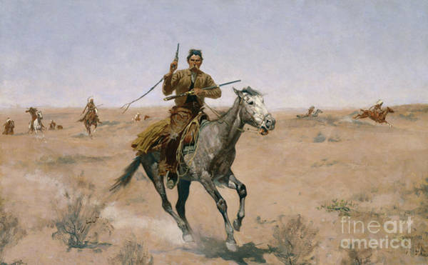 Wall Art - Painting - The Flight, A Sage-brush Pioneer, 1895 by Frederic Remington