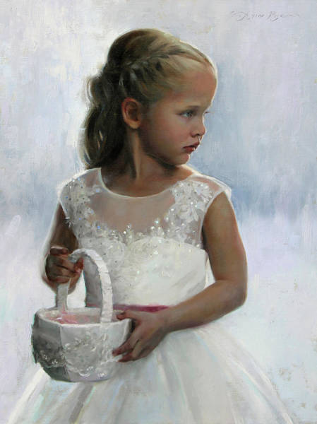 Basket Painting - The Flower Girl by Anna Rose Bain