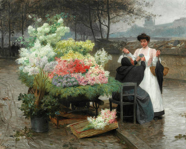 Wall Art - Painting - The Flower Vendor On The Quays In Paris by Victor-Gabriel Gilbert