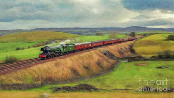 Vintage Train Painting - The Flying Scotsman Locomotive by John Springfield