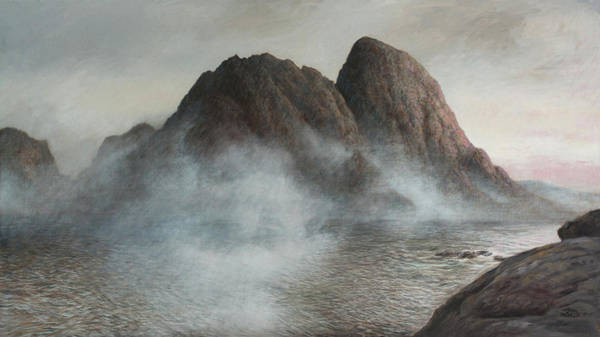 Archipelago Painting - The Fog Is Lifting In Lofoten by Hans Egil Saele