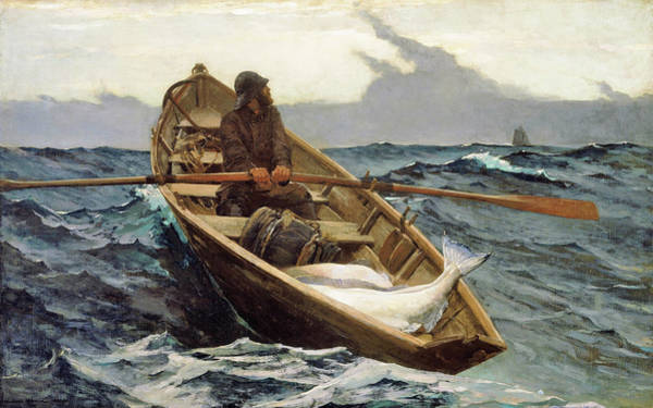 Blast Wave Wall Art - Painting - The Fog Warning, Halibut Fishing - Digital Remastered Edition by Winslow Homer