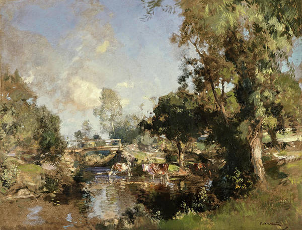 Galloway Wall Art - Painting - The Ford, New Abbey, 1917 by Edward Arthur Walton