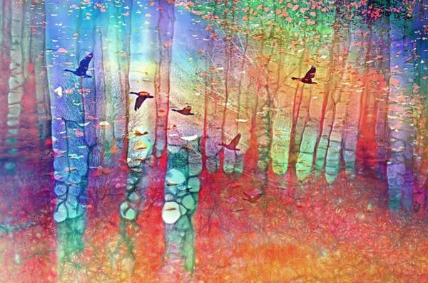 Digital Art - The Forest Spins Dreams From Black Wings And Falling Leaves by Tara Turner