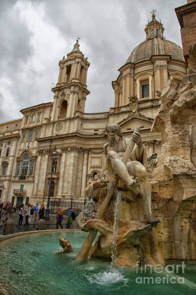 Photograph - The Fountain Of The Four Rivers Fontana Dei Quattro Fiumi Rome Italy by Wayne Moran