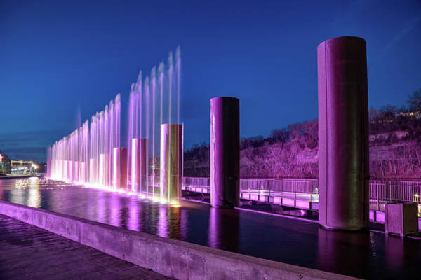 Photograph - The Fountains At Branson Landing - Dusk Light by Gregory Ballos
