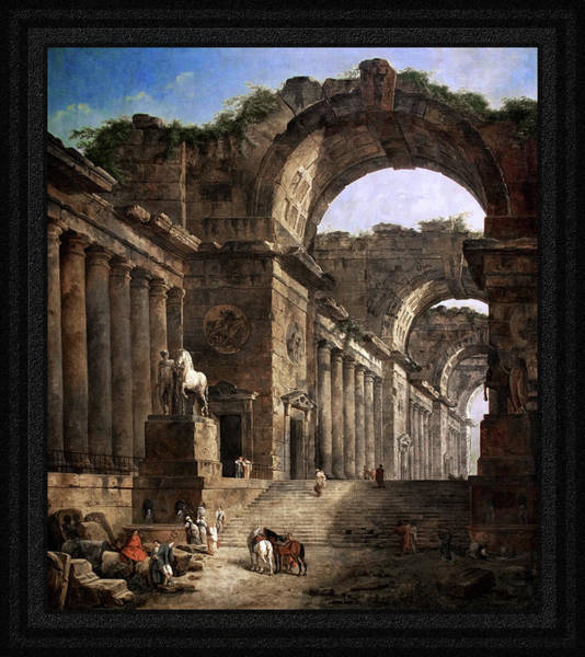 Painting - The Fountains By Hubert Robert by Xzendor7