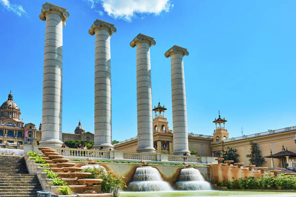 Photograph - The Four Columns And The National Art Museum In Barcelona by Fine Art Photography Prints By Eduardo Accorinti