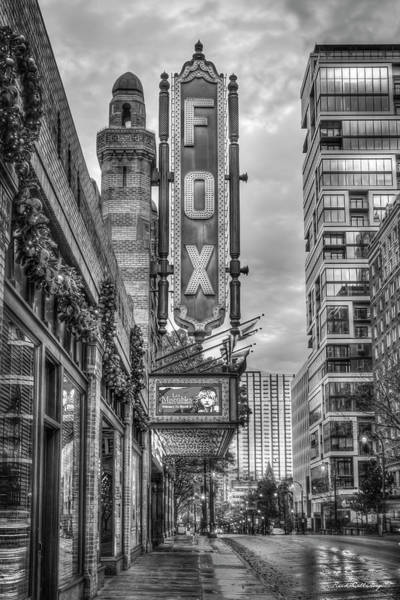 Wall Art - Photograph - The Fox Theatre Christmas B W Midtown Atlanta Georgia Art by Reid Callaway