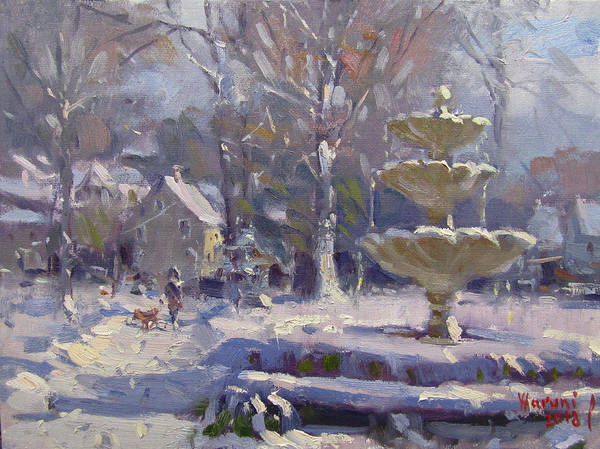 Snow Scene Painting - The Frozen Fountain by Ylli Haruni