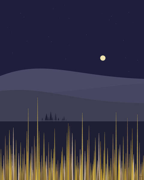 Minimalist Digital Art - The Full Corn Moon by Val Arie