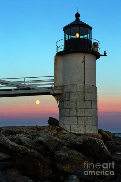 Wall Art - Photograph - The Full Moon Rising Over Marshall Point Lighthouse by Diane Diederich