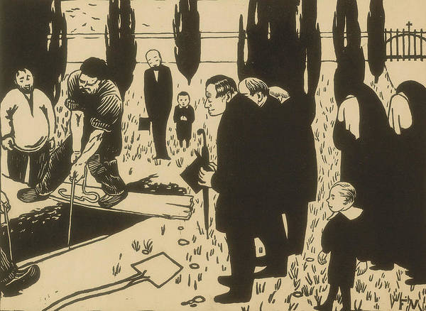 Wall Art - Relief - The Funeral by Felix Edouard Vallotton