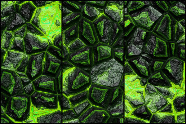 Digital Art - The Future Of Green Stone Triptych by Don Northup