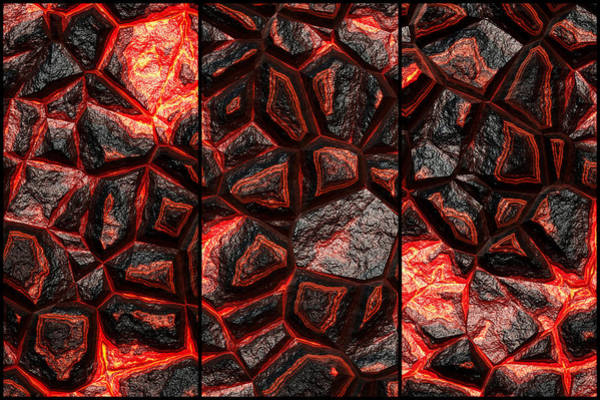 Digital Art - The Future Of Orange Stone Triptych by Don Northup