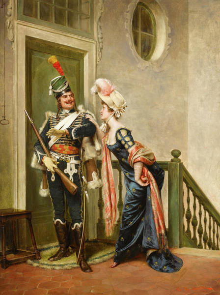 Wall Art - Painting - The Gallant Officer by Frederic Soulacroix