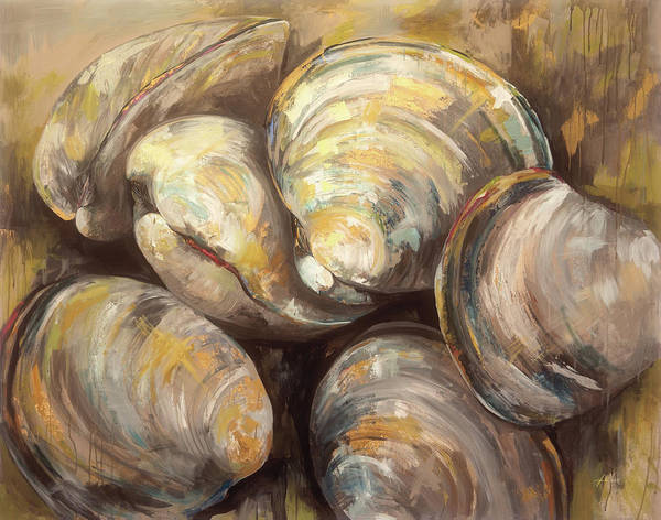 Wall Art - Painting - The Gang Of Quahogs by Jeanette Vertentes