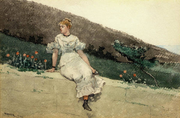 Golden Bloom Painting - The Garden Wall - Digital Remastered Edition by Winslow Homer