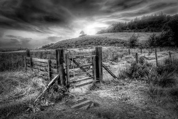 Photograph - The Gate At Sunrise In Black And White by Debra and Dave Vanderlaan