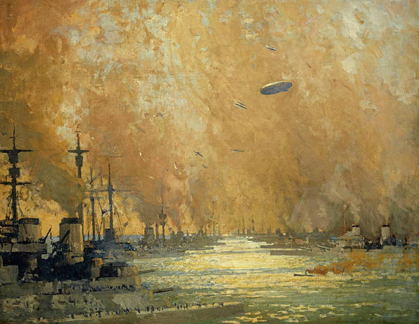 Surrendering Painting - The German Fleet After Surrender, Firth Of Forth, 21 November 1918 by James Paterson