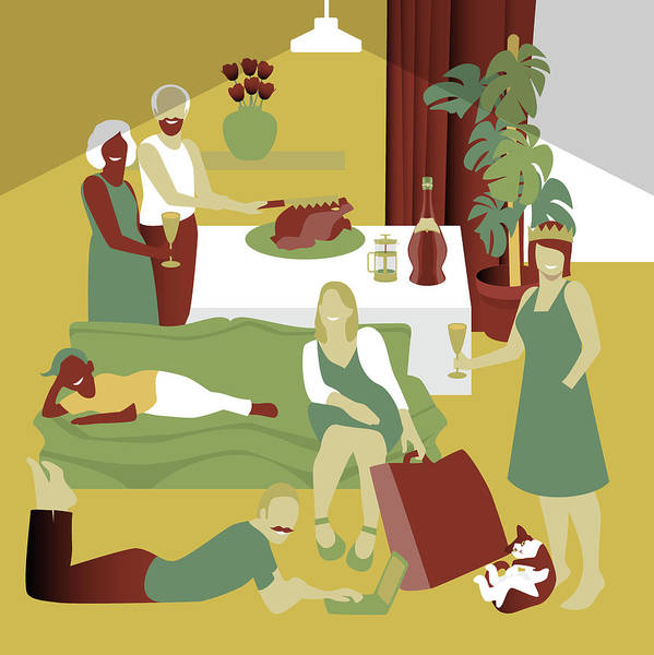 Thanksgiving Dinner Digital Art - The Get Together by Claire Huntley