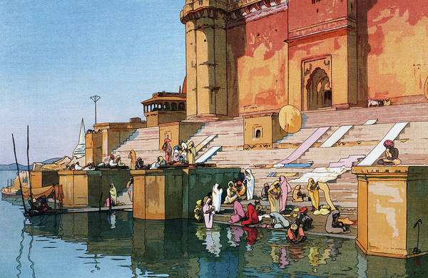 Believers Painting - The Ghat At Varanasi - Digital Remastered Edition by Yoshida Hiroshi