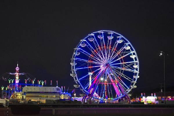 Timonium Wall Art - Photograph - The Giant Ferris Wheel Illuminates The State Fair by Doug Swanson