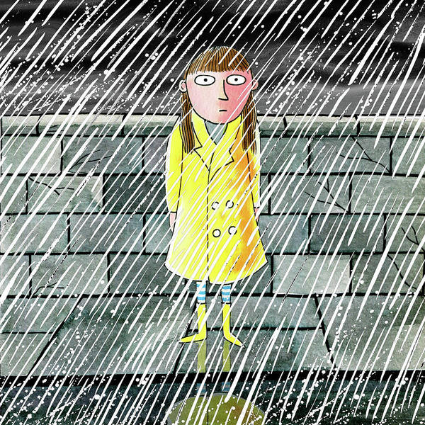Wall Art - Mixed Media - The Girl In The Rain by Andrew Hitchen