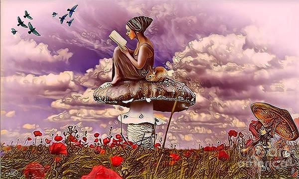 Digital Art - The Girl On The Mushroom by Swedish Attitude Design