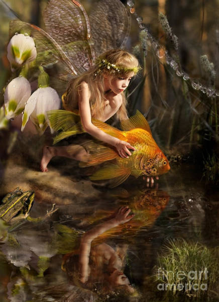 Wall Art - Photograph - The Girl Releases A Gold Fish by Liliya Kulianionak