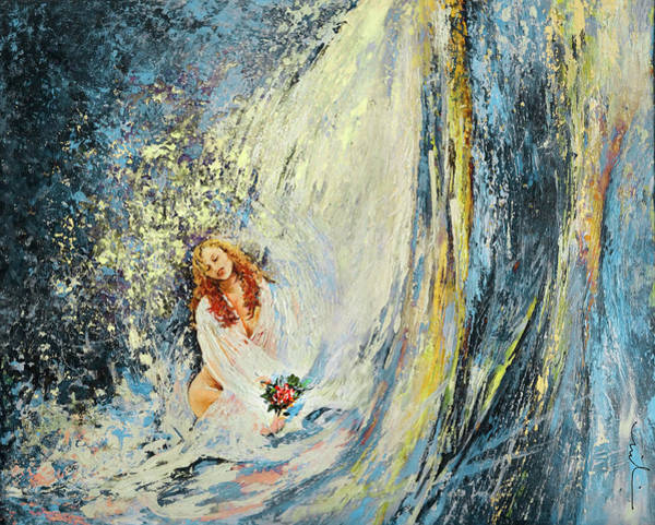 Painting - The Girl Under The Waterfall by Miki De Goodaboom