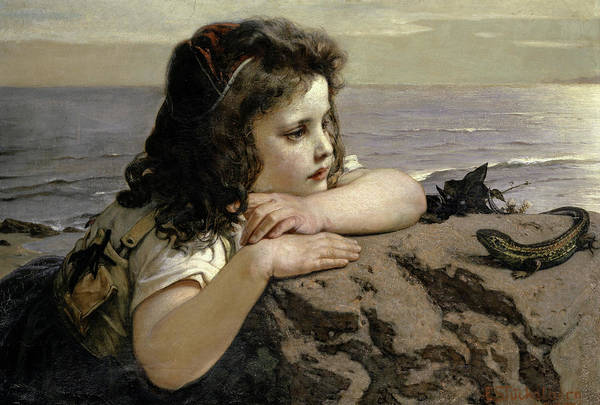 Wall Art - Painting - The Girl With The Lizard by Ernst Stuckelberg
