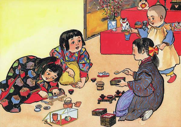Wall Art - Painting - The Girl's Festival - Digital Remastered Edition by Kitazawa Rakuten
