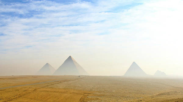 Arrival Photograph - The Giza Pyramids Viewed From Distance by Kanwal Sandhu