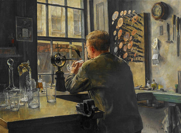 Wall Art - Painting - The Glass Engraver by Charles Frederic Ulrich