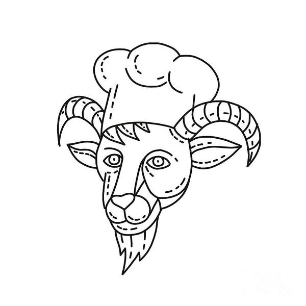 Wall Art - Digital Art - The Goat Chef Cook Baker Mono Line by Aloysius Patrimonio