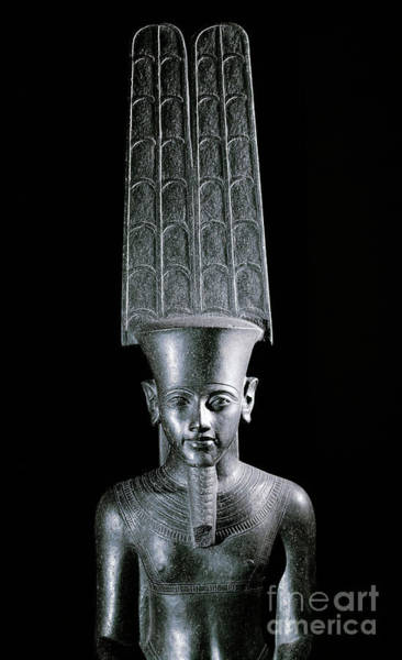 Wall Art - Sculpture - The God Amon, Protecting The Pharaoh Tutankhamun by Egyptian School