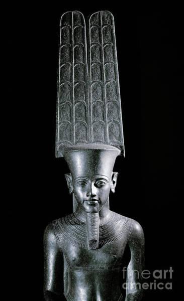 Wall Art - Sculpture - The God Amon, Protecting The Pharaoh Tutankhamun by Egyptian School