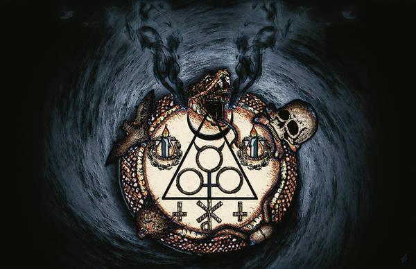 Satanism Digital Art - The Goetic Circle Of Black Evocation by Shane Thomas