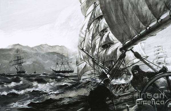 Helm Painting - The Golden Age Of Sail, Champions Of The China Seas by Graham Coton