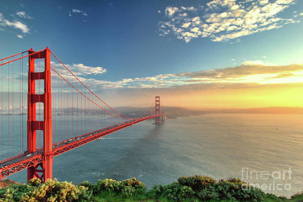 Wall Art - Photograph - The Golden Gate Bridge During Sunset In by Prab S