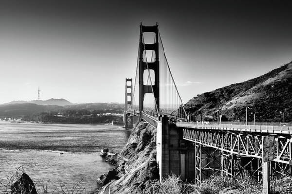 Photograph - The Golden Gate Bridge In Black And White by Bill Cannon