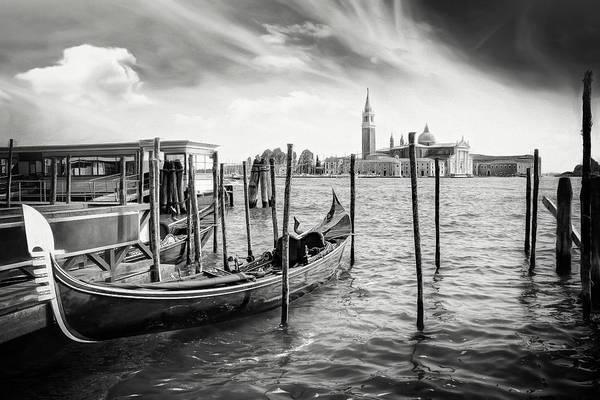 Venezia Photograph - The Gondola Stop Venice Italy Black And White by Carol Japp