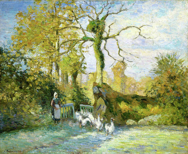 Wall Art - Painting - The Goose Girl At Montfoucault - Digital Remastered Edition by Camille Pissarro