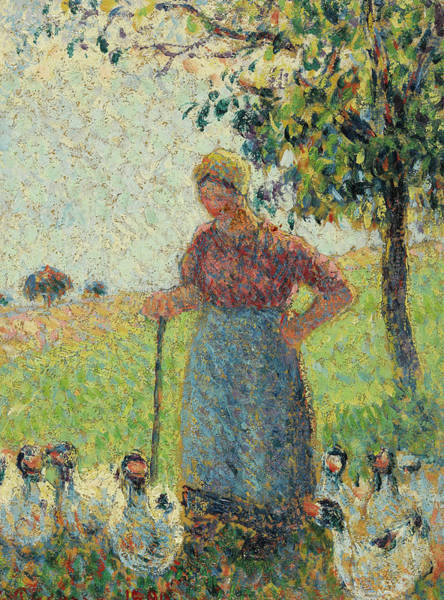 The Shepherdess Wall Art - Painting - The Goose Keeper by Camille Pissarro
