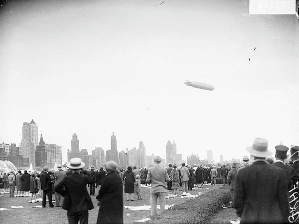 Graf Photograph - The Graf Zeppelin High Over Chicago by Chicago History Museum